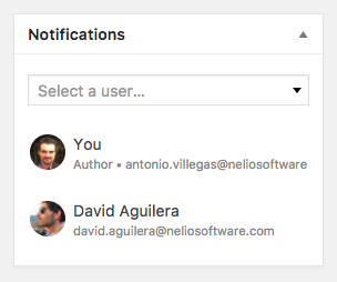 Nelio Content notification metabox, where you can add users interested in receiving notifications about a specific post.