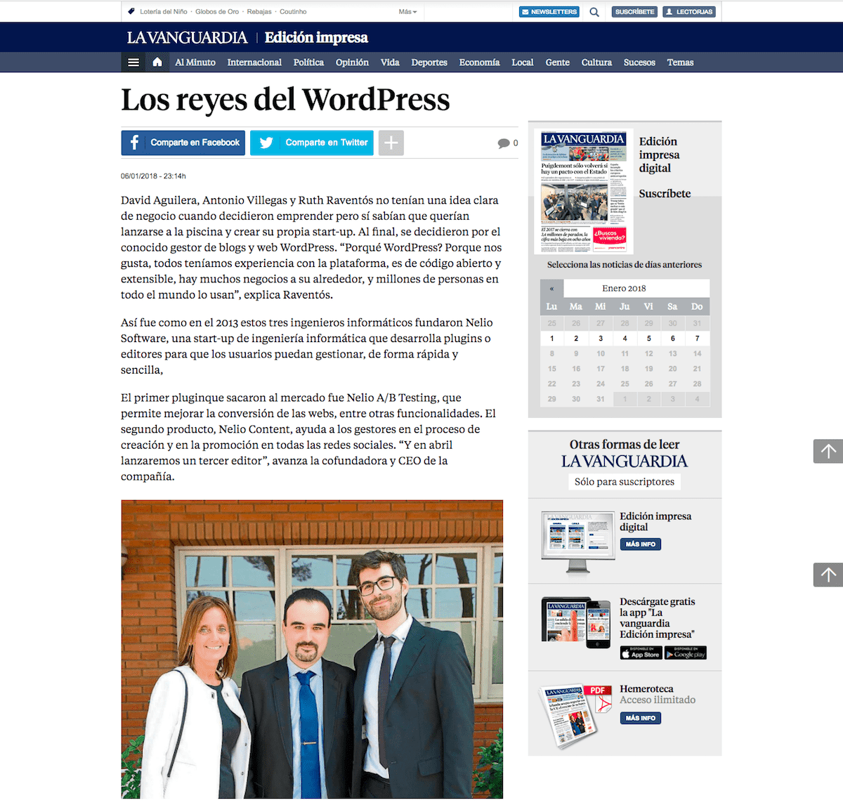 Los reyes del WordPress on La Vanguardia