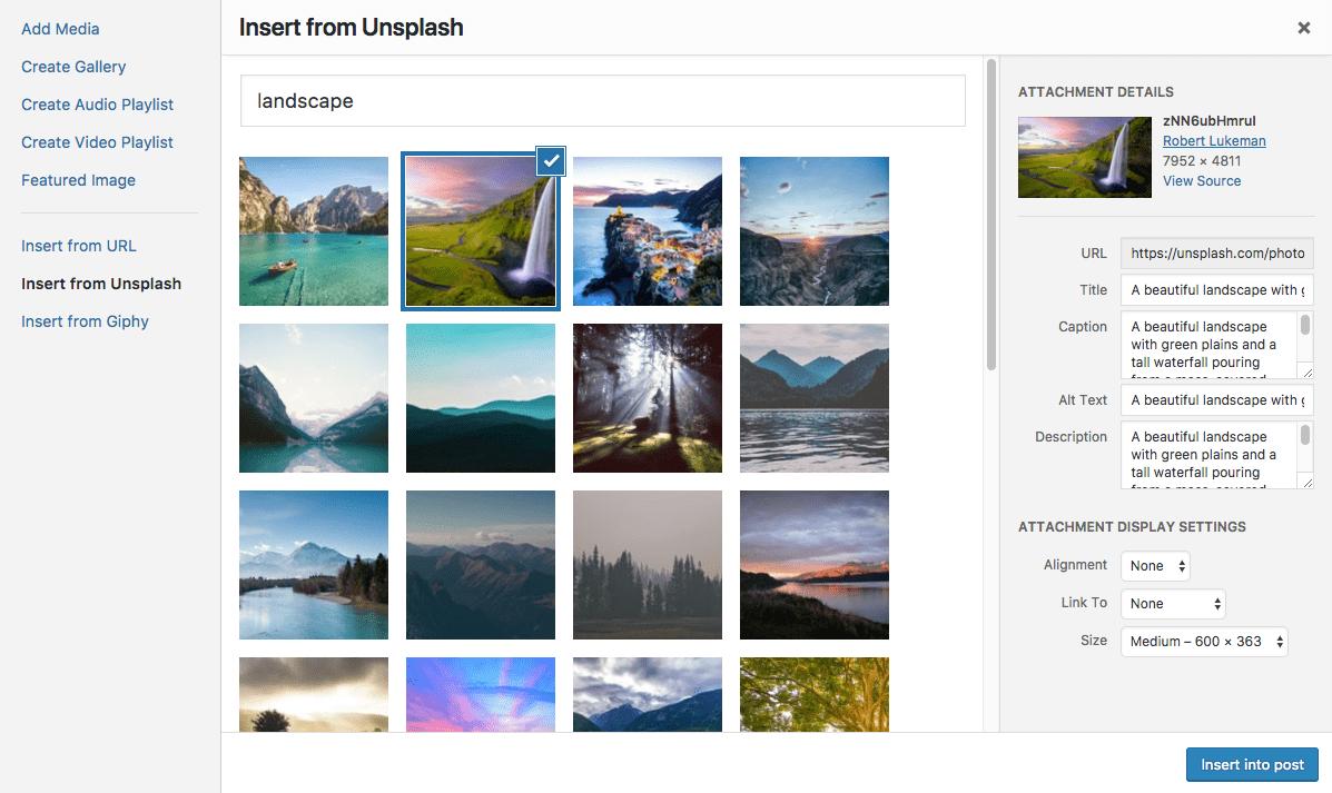Select an Unsplash image