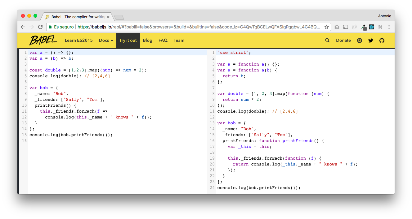 On the left, JavaScript code with arrow functions. To the right, the equivalent JavaScript generated by Babel that is compatible with all browsers.