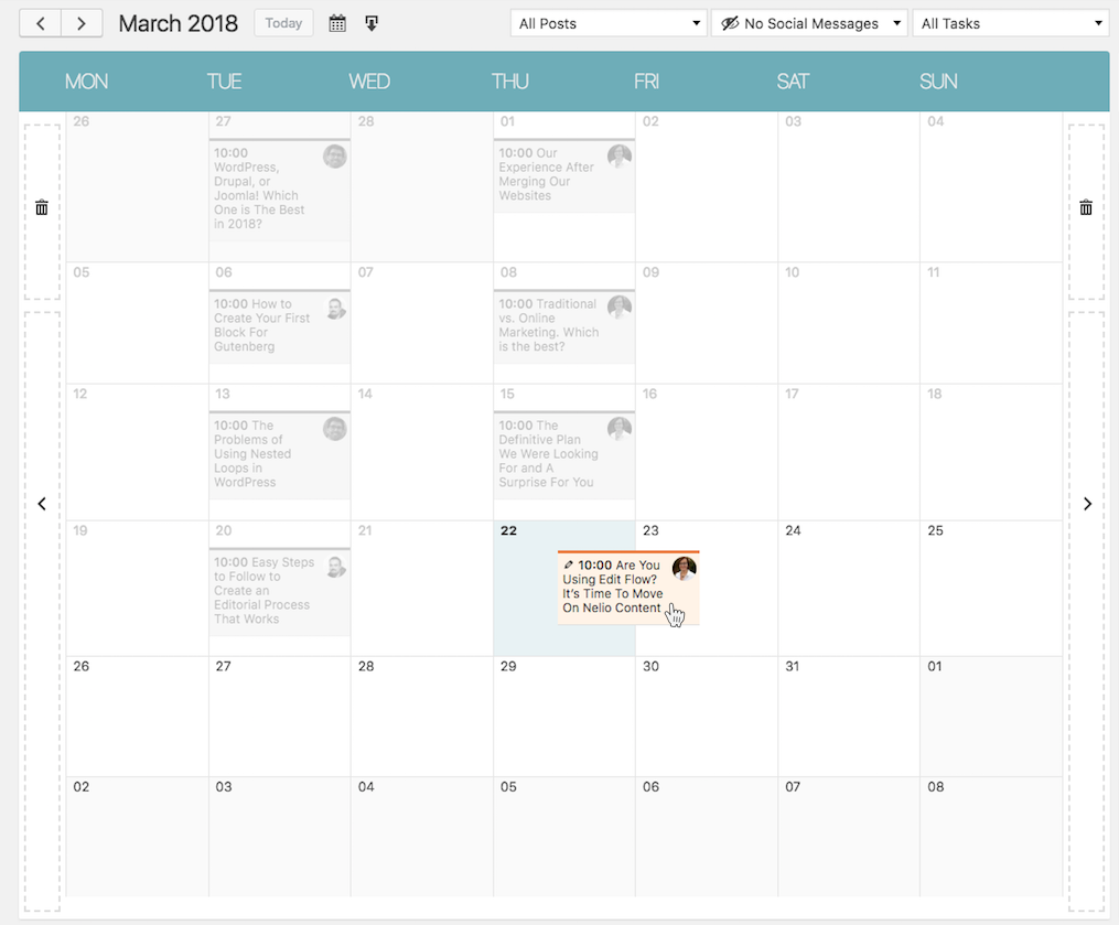 Nelio Content drag-and-drop editorial calendar