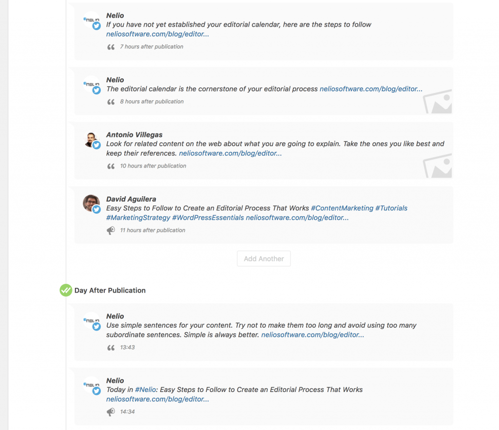 Here you can see some of the messages created automatically by Nelio Content from the content of this post.