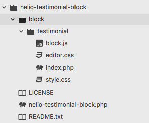 File structure for the plugin that adds the testimonial block in Gutenberg.