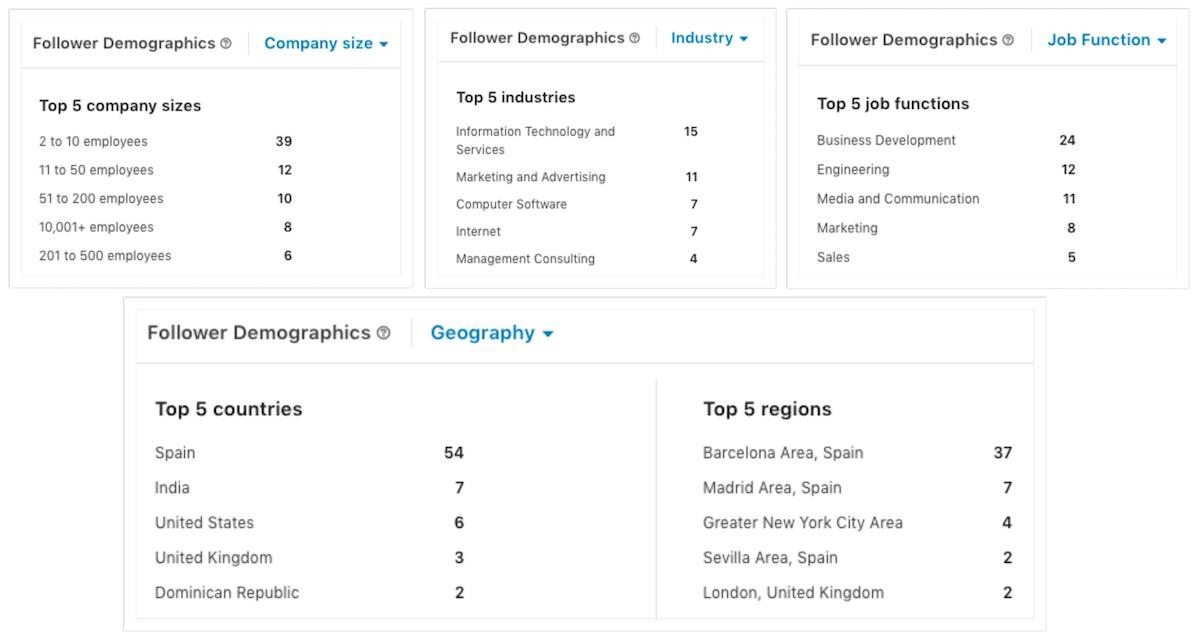 Demographics of our audience on LinkedIn.
