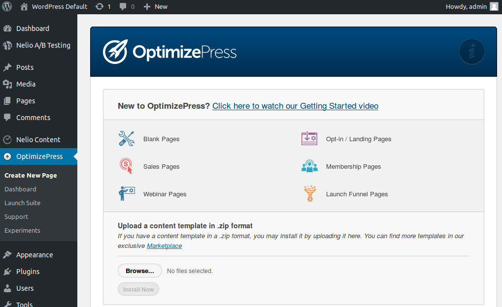 New page creation in OptimizePress