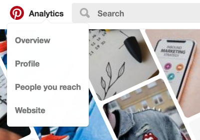 Pinterest analytics appear if your profile is a business profile.