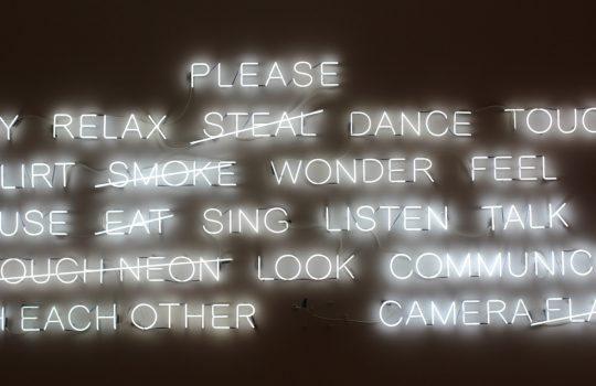 Instruction neon sign, by Lauren Peng