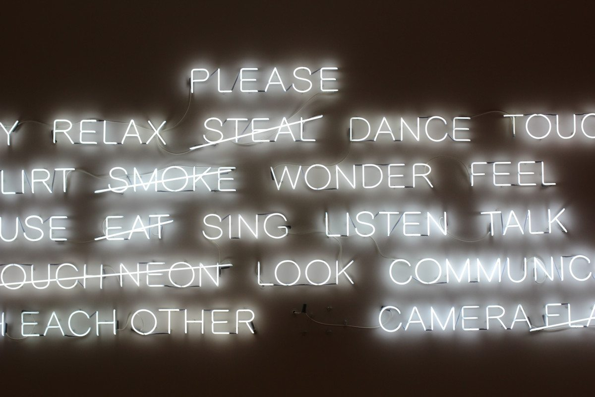 Instruction neon sign, by Lauren Peng