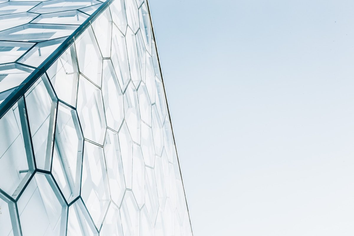 Building facade with geometric shapes on it
