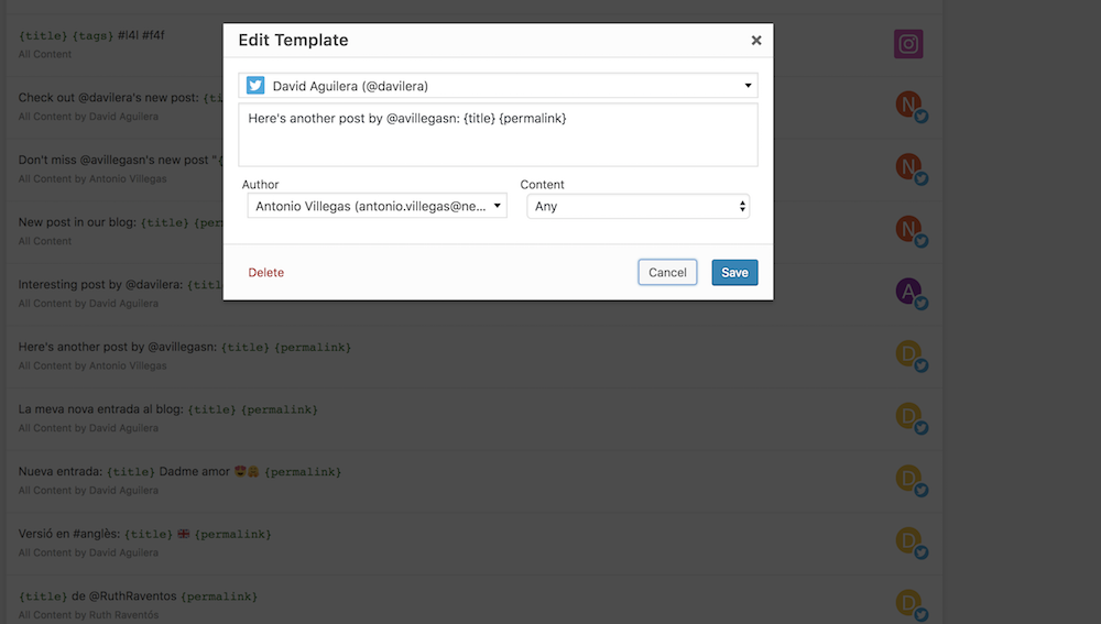 Dialog for editing a social template where you can configure how it works.