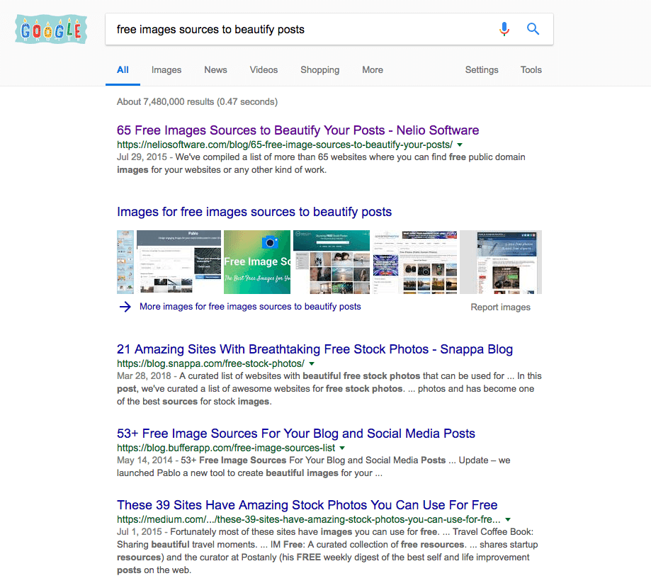 Google search of websites