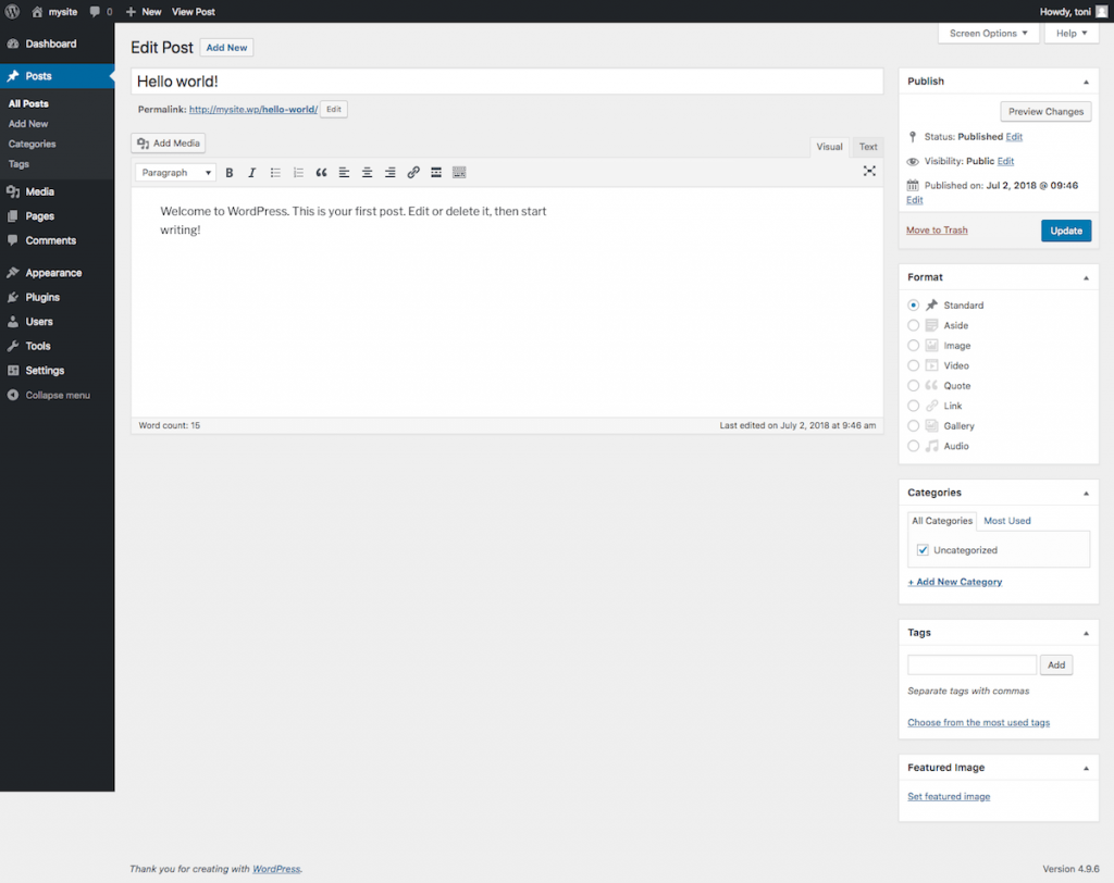 WordPress post editor with no plugin activated. The design is clean and simple.