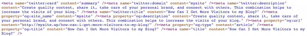 Metadata added by the plugin WP Meta SEO.