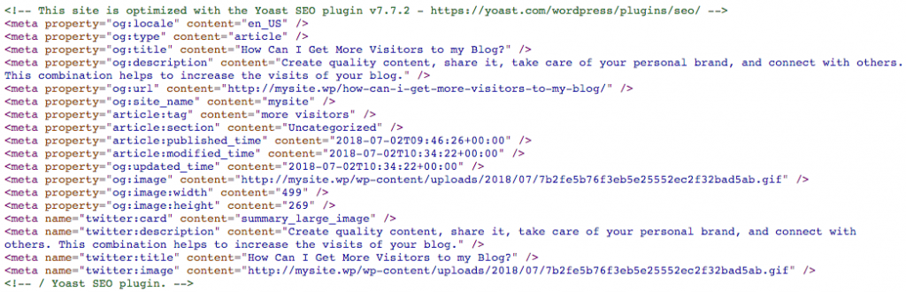 Metadata added by the plugin Yoast SEO.