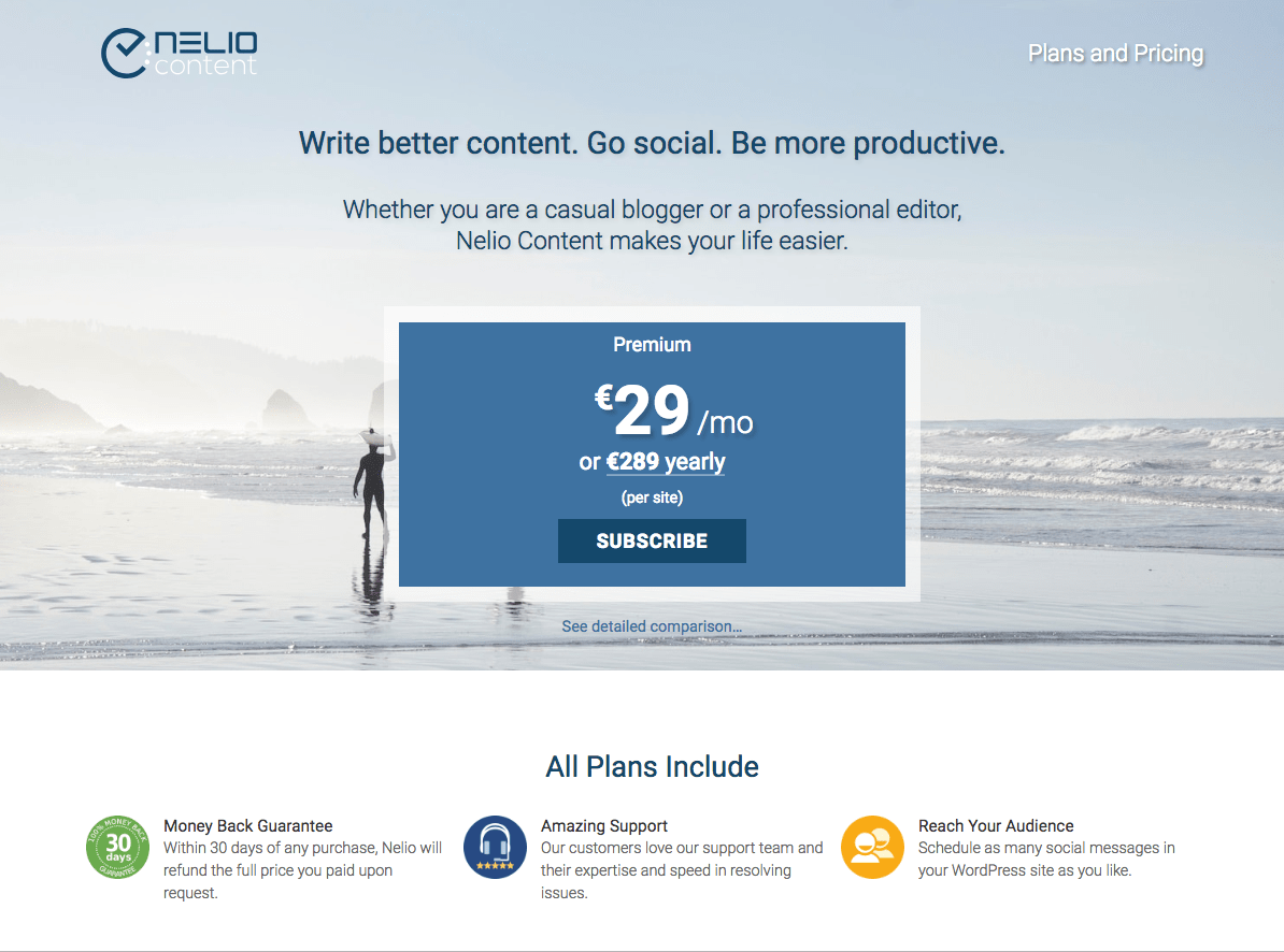 Nelio Content Pricing Page