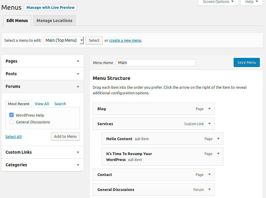 Adding a bbPress Forum in the Navigation Menu