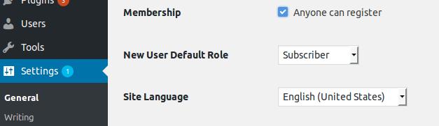 Membership Option in WordPress Settings
