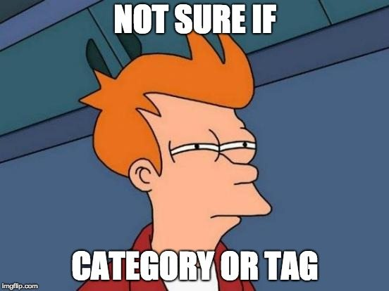 It happens sometimes. You don't know whether to classify something as a category or a tag.