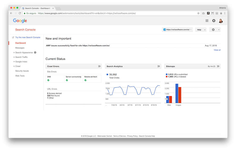 Google Search Console includes different sections where you can check the status of your website from a search engine point of view.