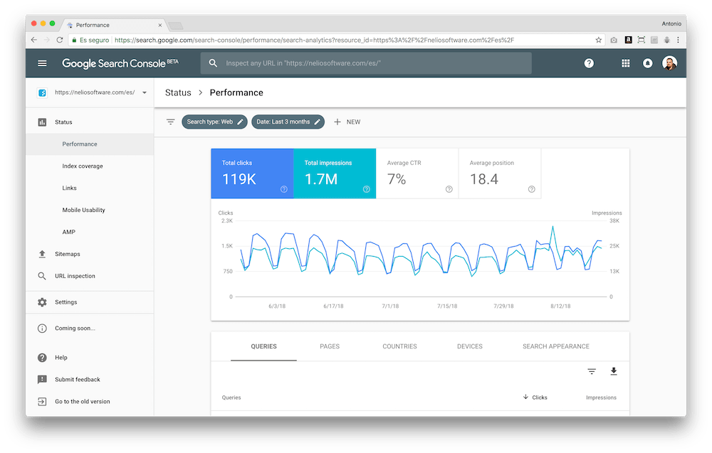 The new Google Search Console interface shows you relevant information about your website and its contents.