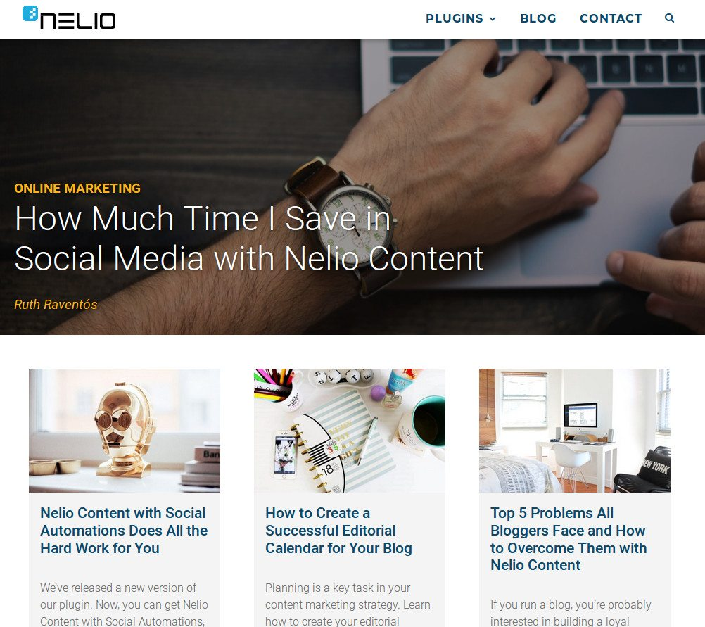 Blog Posts in Nelio Software's Front Page