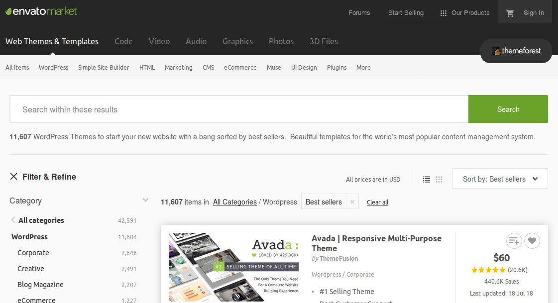 Screenshot of Themeforest, a premium theme directory