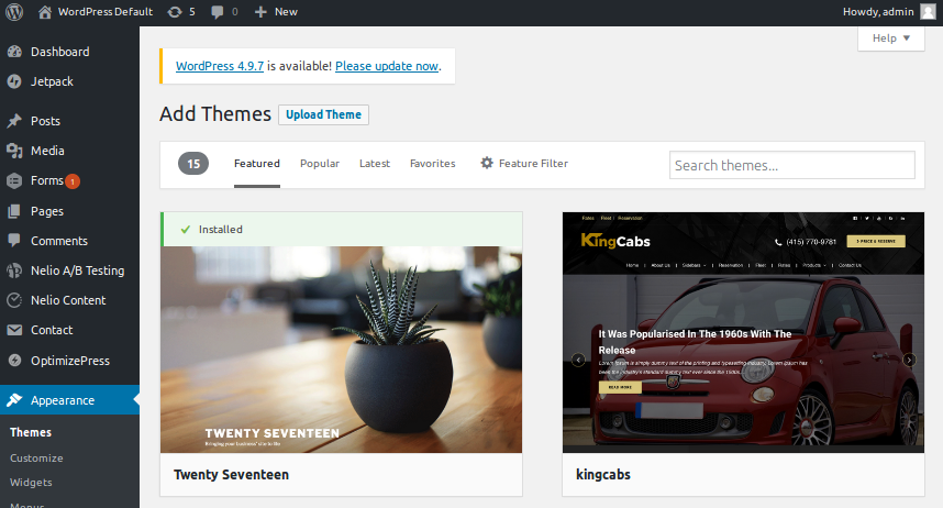 WordPress Themes can be installed directly from the Dashboard