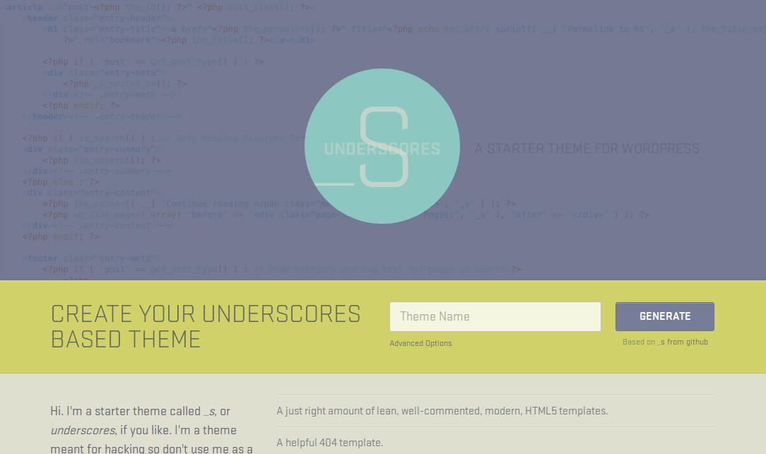 Underscores, a Fantastic Starter Theme by Automattic