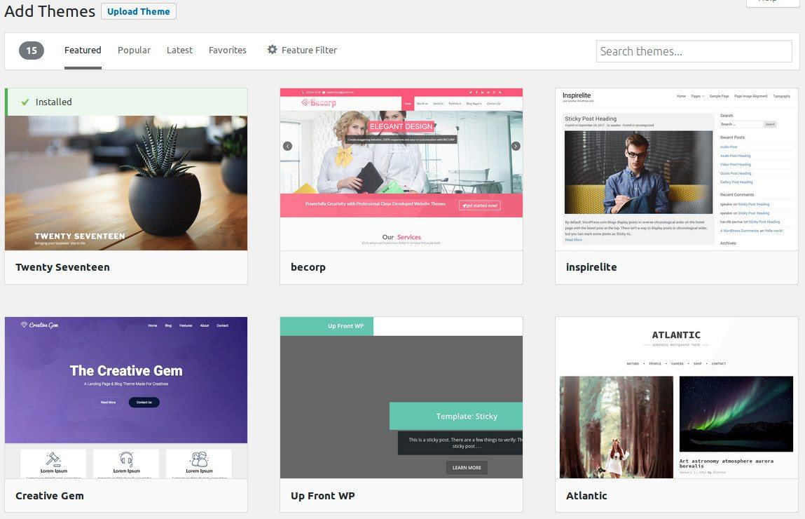 Available Themes in the WordPress Theme Directory