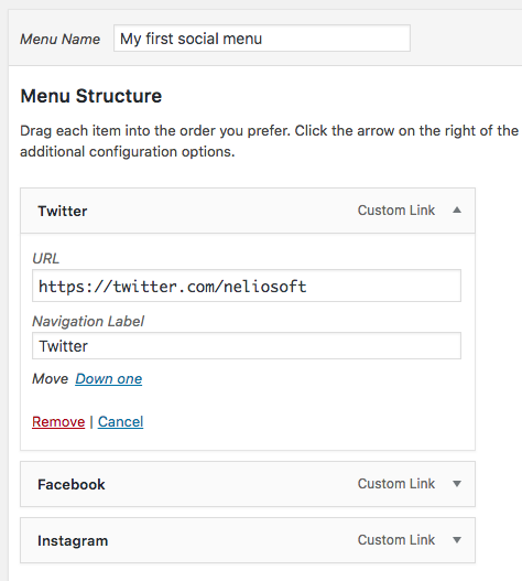 Items of a social menu navigation.