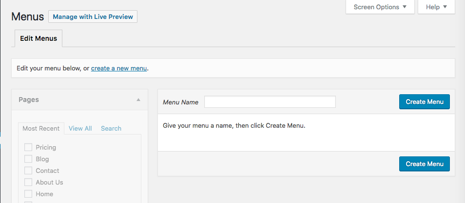 Create your first menu