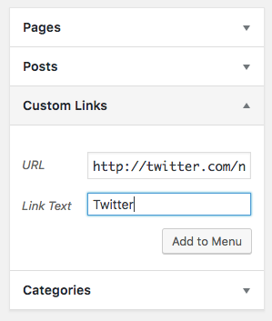 Custom Links tab in menus