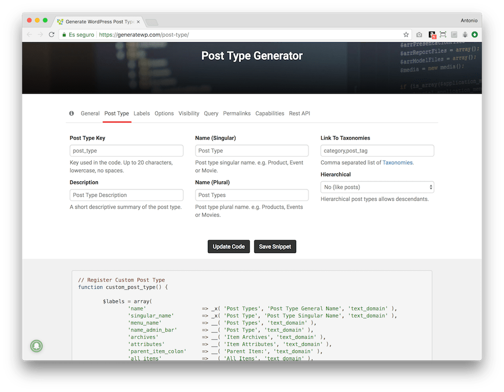 The easiest way to create the code for your custom post type in WordPress is with the GenerateWP generator.