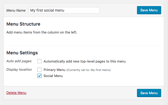 Creating my new social menu.