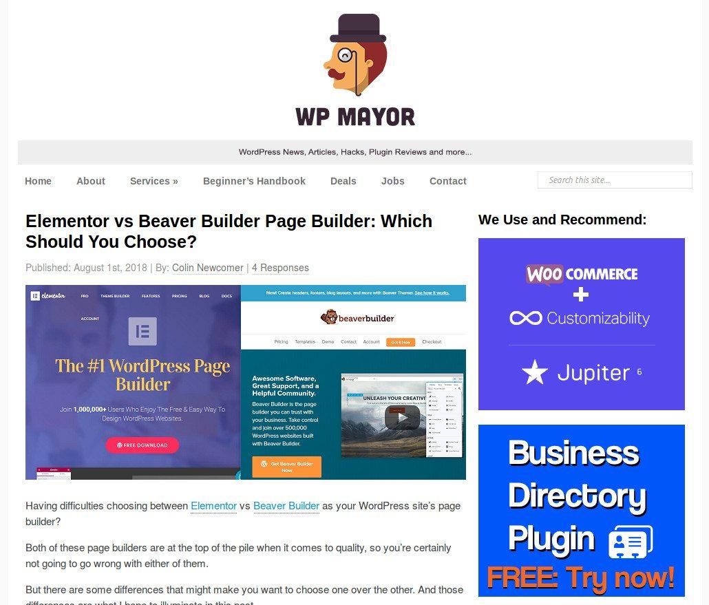 Screenshot of a post in WP Mayor