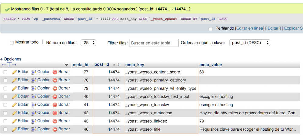 Example of metadata that the Yoast SEO plugin adds to the WordPress database in the wp_posts table.