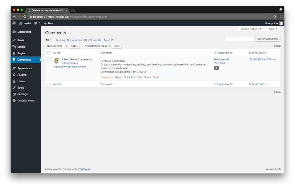In the Comments menu of WordPress you can manage all the comments of your website.