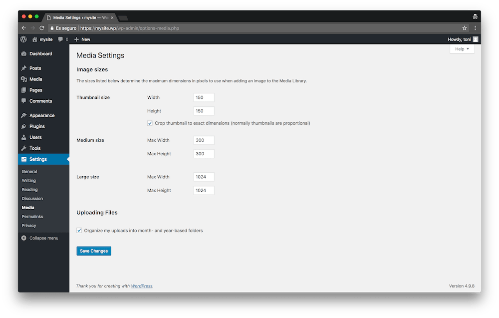 If you want to change the settings of your images in WordPress, go to the menu Settings » Media.