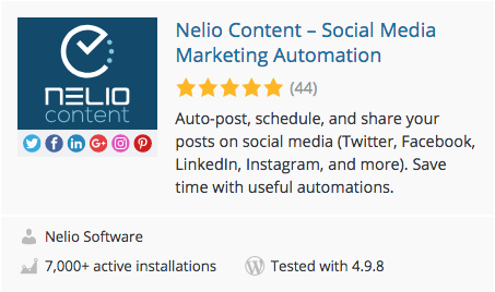 Nelio Content is a WordPress plugin that allows you to automate the promotion of your blog on social networks.