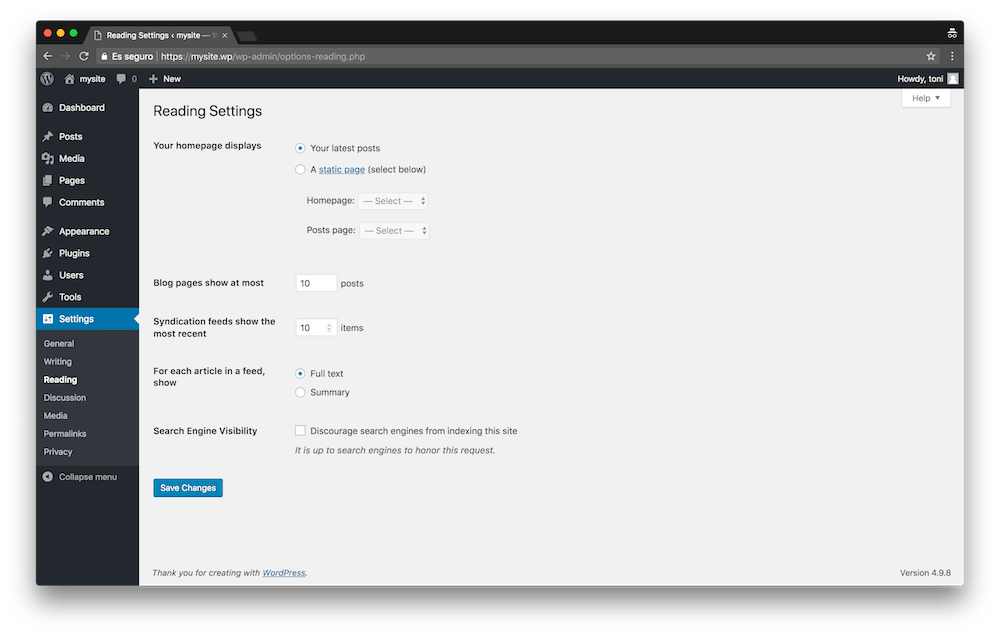 The reading settings in your WordPress make it easy to set up your website's cover page.