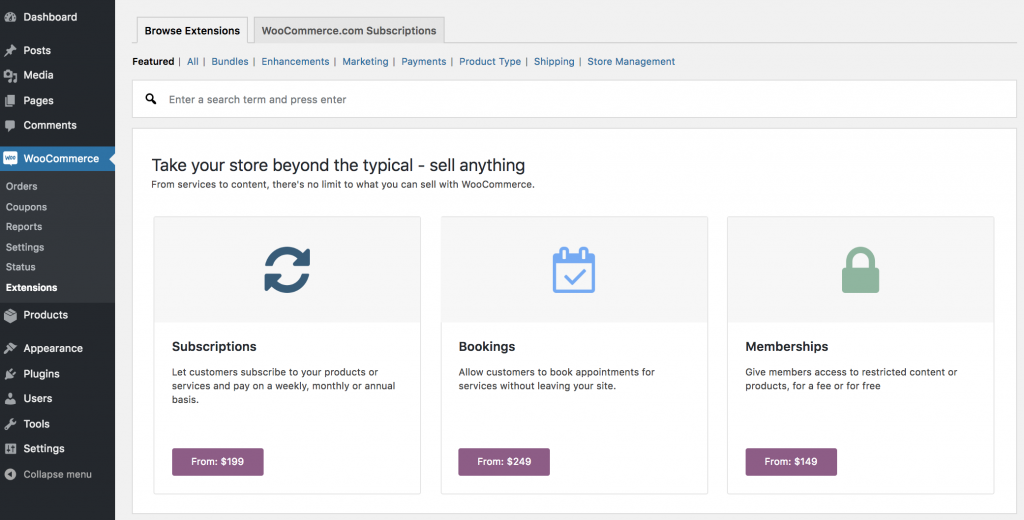 WooCommerce has a lot of plugins that allow you to extend its functionalities to adapt your shop to your needs.