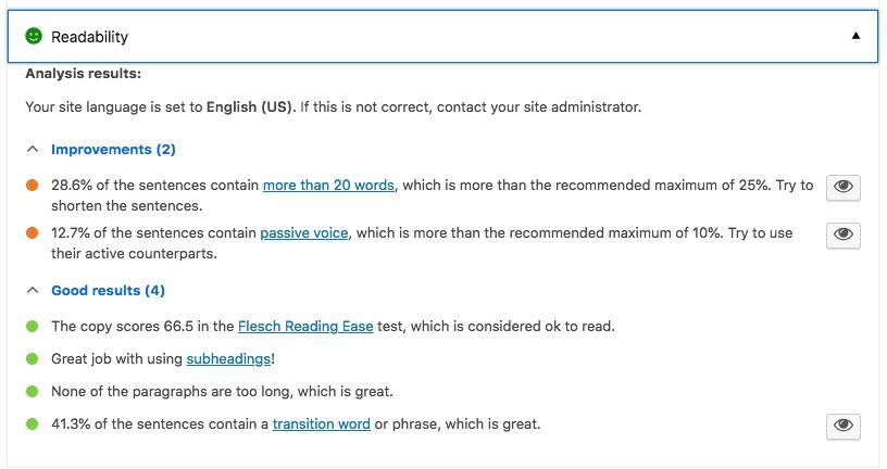 Yoast SEO readability analysis.