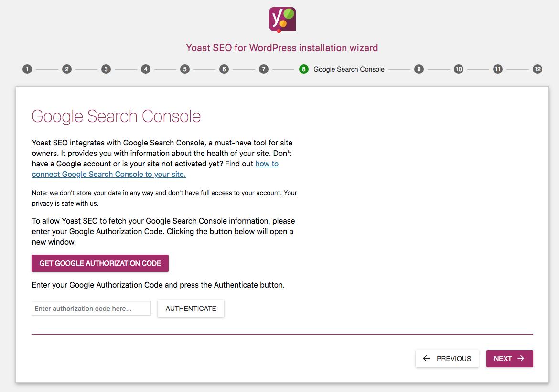 Yoast SEO Google Search Console.