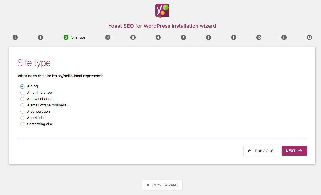 Setting up the site type with Yoast SEO.