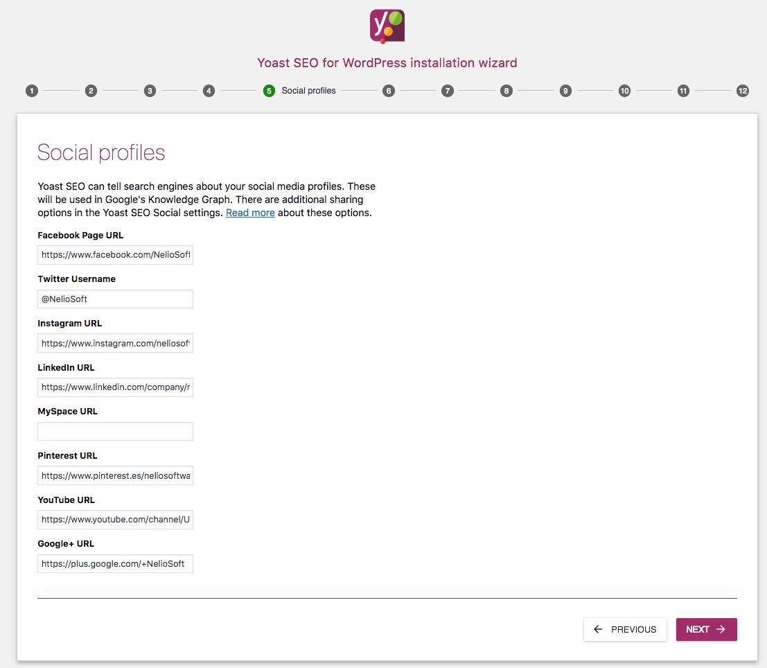 Yoast SEO wizard social profiles.