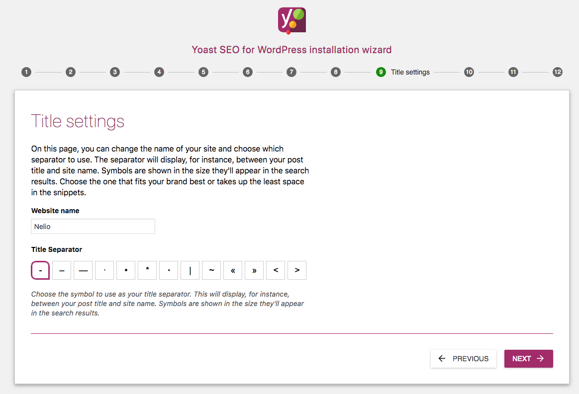 Yoast SEO title settings.