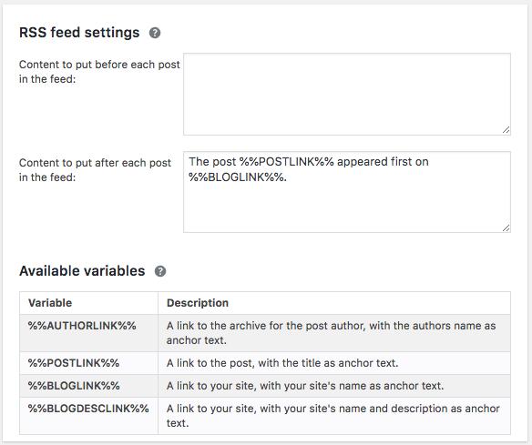 Ajustes del feed RSS en Yoast SEO.