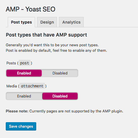Post types configuration of AMP in Yoast SEO.