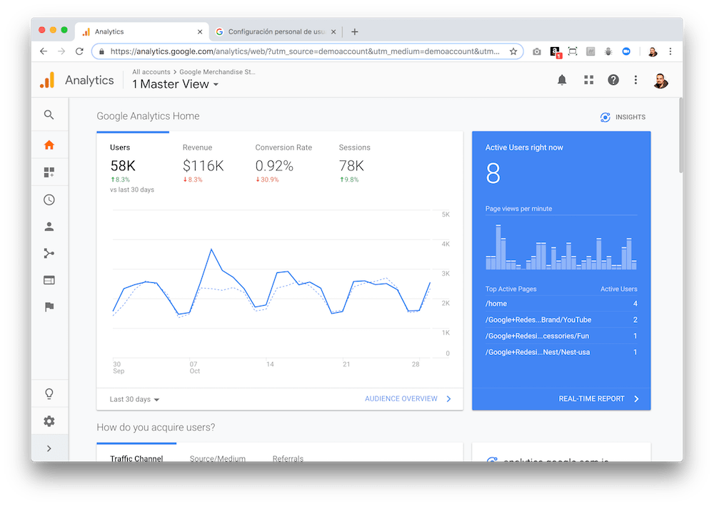 The main page of the Google Analytics demo account already shows us a lot of information about the Google merchandise store.