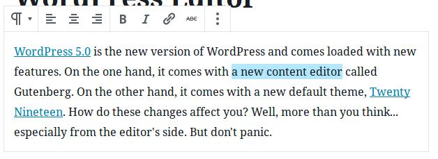 Gutenberg Contextual Toolbar